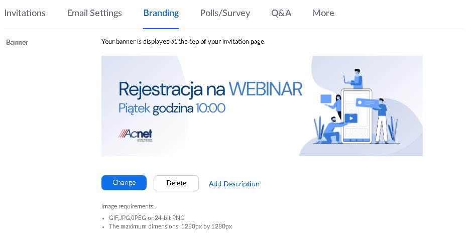 Możliwość brandingu na Zoomie: Dodawanie baneru do webinara