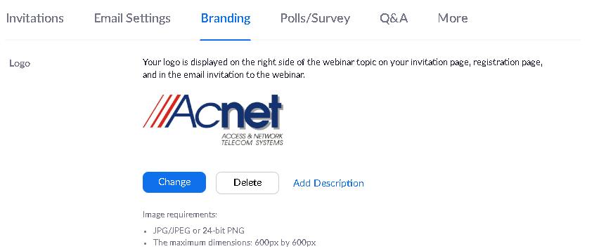 Możliwość brandingu na Zoomie:  Dodawanie logo do webinara