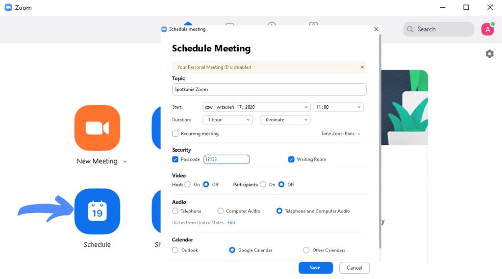 Jak korzystać z Zooma? Planowanie spotkania
